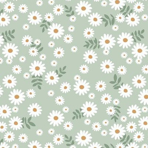 Little daisies and leaves summer garden minimal Scandinavian blossom sage mint green white