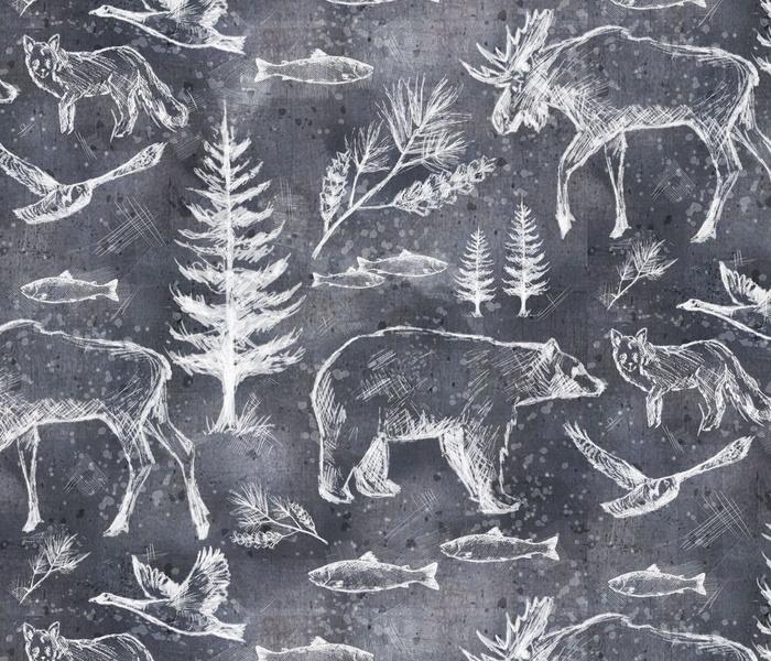Canadian Wildlife Chalk on Slate