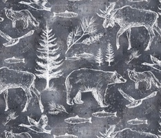 Canadian Wildlife Chalk on Slate