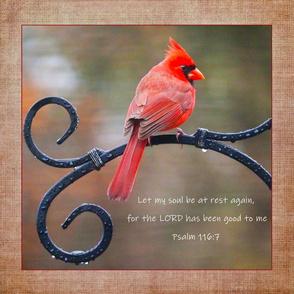 Cardinal Let my soul be at rest pillow mini quilt