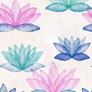 Calm Corner Lotus Floral Watercolor on rose marble