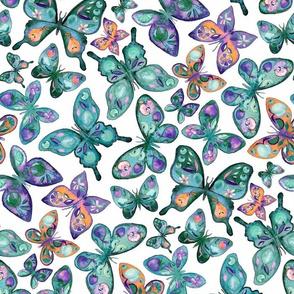 Watercolor Fruit Patterned Butterflies - Forest Green, Orange, Purple - custom request