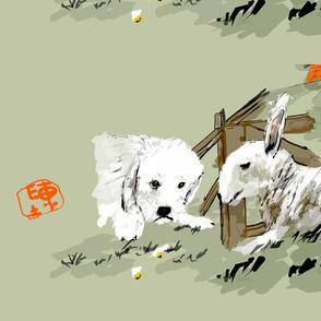 Komondor pup and lamb
