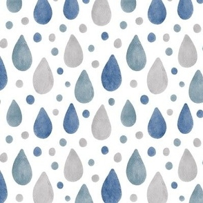 Blue, Grey and White Raindrops Watercolour Pattern