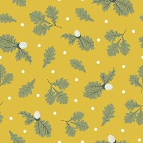 Oak leaves - mustard yellow