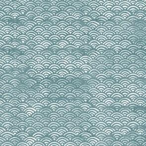 Japanese Block Print Pattern of Ocean Waves in White on Teal | Japanese Waves Pattern in Sea Foam, Blue Green Boho Print, Beach Fabric.
