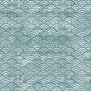 Japanese Block Print Pattern of Ocean Waves in White on Teal (large scale) | Japanese Waves Pattern in Sea Foam, Blue Green Boho Print, Beach Fabric.