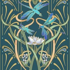 Art Nouveau Dragonflies Small | Deep Teal Green