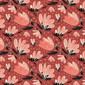 Worn out red florals