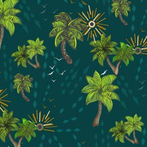 Tropical Paradise Dark Green