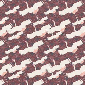 Crane birds flying over abstract clouds Japanese style seamless pattern
