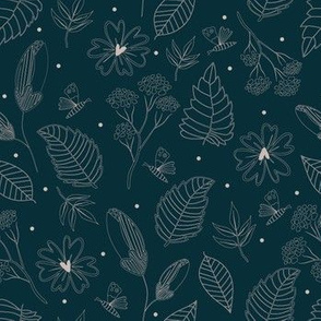 Abstract seamless botanical Nature floral pattern with butterflies