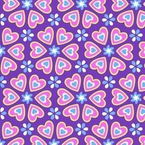 Purple Folk Art Hearts Pattern