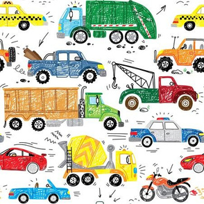 traffic hand drawn cars