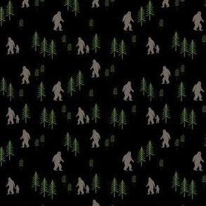 TINY Sasquatch forest mythical animal fabric black