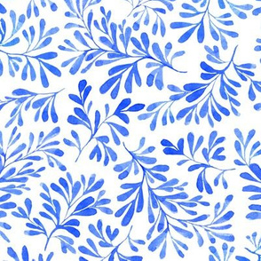 Winter blue branches and leaves botanical watercolor 0275