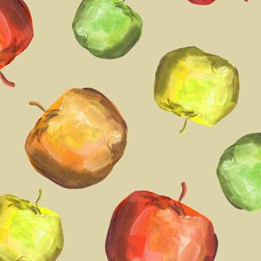 Green, yellow and red apples on beige backdrop juicy pattern 0292