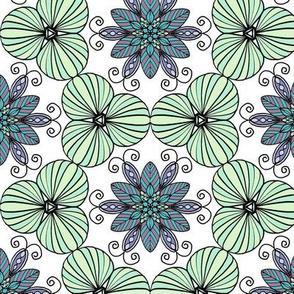 Minty green floral mandala 0315