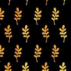 Golden watercolor leaves on black backdrop autumn design 0473