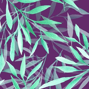 Willow leaves on purple watercolor 0265