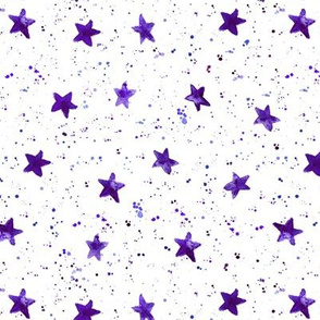 Violet moondust and stars - watercolor night sky with splatters and stars for modern nursery baby