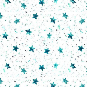 Emerald moondust and stars - watercolor night sky with splatters and stars for modern nursery baby