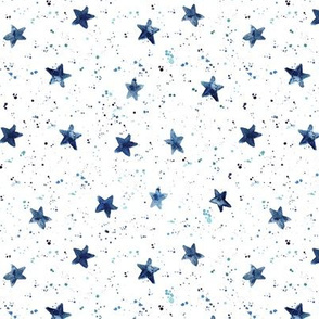 Indigo Moondust and stars - watercolor night sky with splatters and stars for modern nursery baby p306