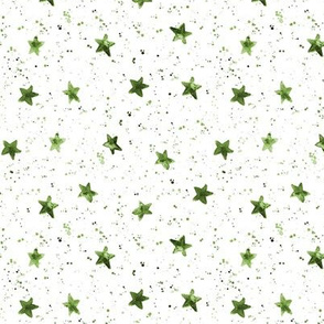 Moondust and stars - green watercolor night sky with splatters and stars for modern nursery baby p306
