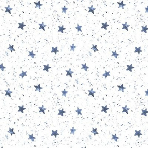 Soft indigo Moondust and stars - watercolor night sky with splatters and stars for modern nursery baby p306
