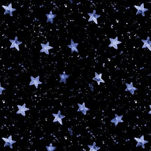 Moondust and blue stars - watercolor night sky with splatters and stars for modern nursery baby