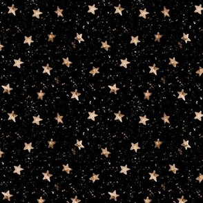 Moondust and gold stars - smaller scale watercolor night sky with splatters and stars for modern nursery baby