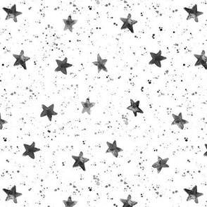 Silver grey Moondust and stars - watercolor night sky with splatters and stars for modern nursery baby 306