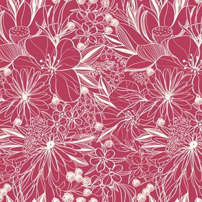 white floral lines on raspberry wine