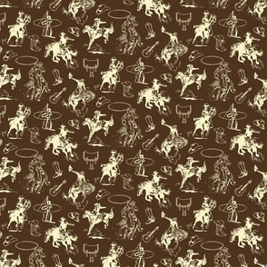 Cowboys Rodeo Western Horses Dark Brown
