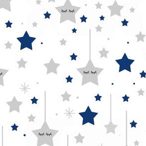 Navy Blue Twinkle Little Sleepy Star Baby Boy