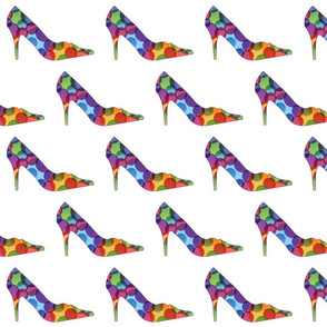Colorful womens pump shoes with circles composition