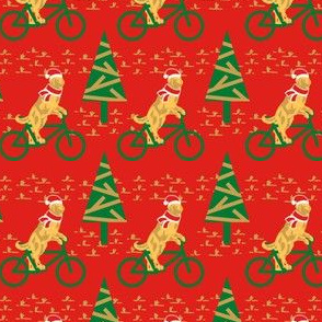 Dogs Day Out on a Bike- Golden Retriever with Santa's Hat and scarf- Red Background- Small Scale