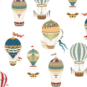 Vintage Hot Air Balloons on White