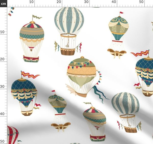 Fabric Yardage unique fabric Map of the World Fabric  with Hot Air Balloons Crafting and Sewing Supplies steampunk globes nursery