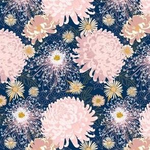 "Japanese Chrysanthemums 5.2"" (limited palette-navy-blush-gold)"