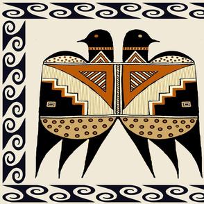 Mimbres Indian Tribal Twin Birds 21x18