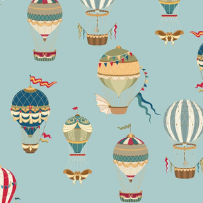Vintage Hot Air Balloons in Sky Blue