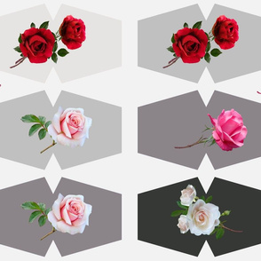 Beautiful Roses Cut and Sew Grey background Face Masks