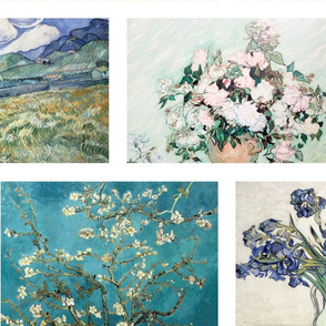 Van Gogh Brick wall quilt - 8 flower paintings in soft colors
