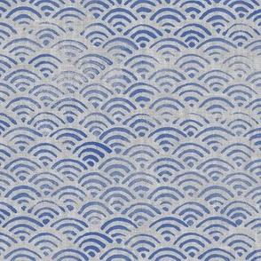 Ocean Block Print Waves in Blue on Grey (xl scale)| Japanese waves in ultramarine blue on grey linen pattern, Seigaiha print, beach fabric.