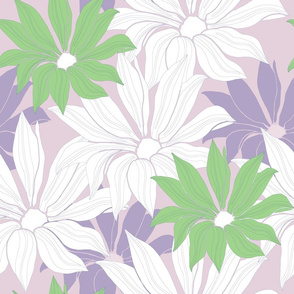 Large daisies in pastel colors