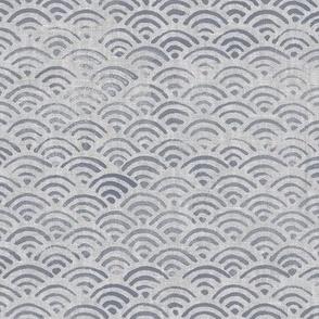 Japanese Block Print Pattern of Ocean Waves (xl scale) | Japanese waves pattern, grey on grey, boho print, neutral decor.
