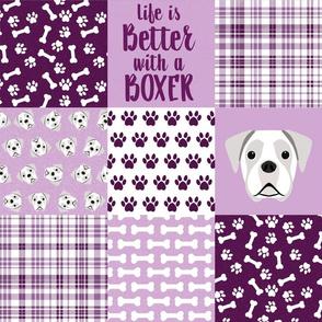 white boxer dog purple quilt