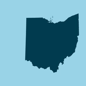 "18"" Ohio silhouette - navy on light blue"