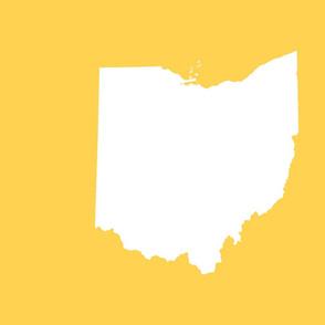"""18"""" Ohio silhouette - white on yellow"""